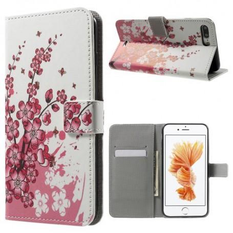 Apple iPhone 7 plus vaaleanpunaiset kukat puhelinlompakko