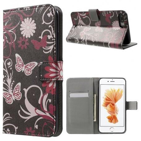 Apple iPhone 7 plus kukkia ja perhosia puhelinlompakko