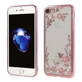 iPhone 7 pinkit timanttikukat silikonisuojus.