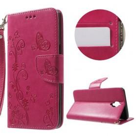 OnePlus 3 pinkki kukkia ja perhosia puhelinlompakko