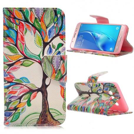 Samsung Galaxy J5 2016 värikäs puu puhelinlompakko