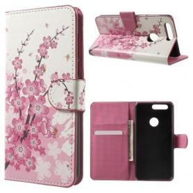 Huawei Honor 8 vaaleanpunaiset kukat puhelinlompakko