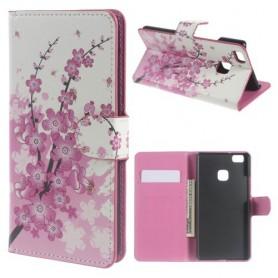 Huawei P9 Lite vaaleanpunaiset kukat puhelinlompakko