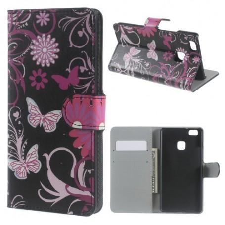 Huawei P9 Lite kukkia ja perhosia puhelinlompakko