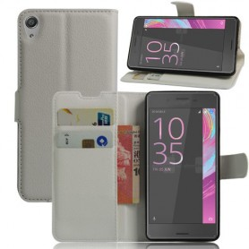 Sony Xperia E5 valkoinen puhelinlompakko