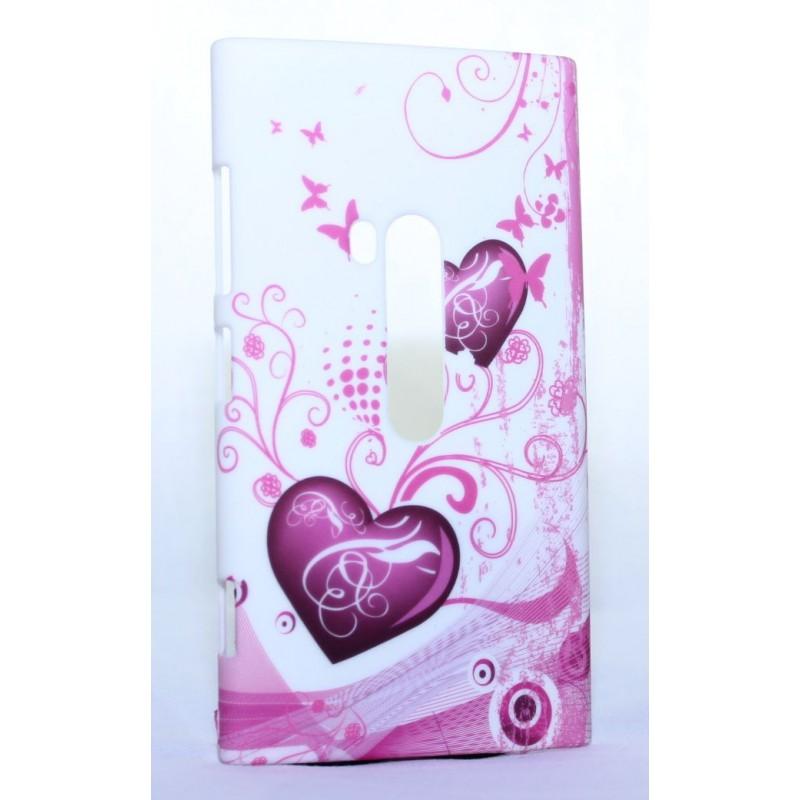 Nokia Lumia 920 kova suojakuori vaaleanpunaiset sydämet.