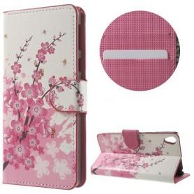 Sony Xperia E5 vaaleanpunaiset kukat puhelinlompakko