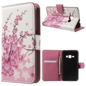 Samsung Galaxy J1 2016 vaaleanpunaiset kukat puhelinlompakko