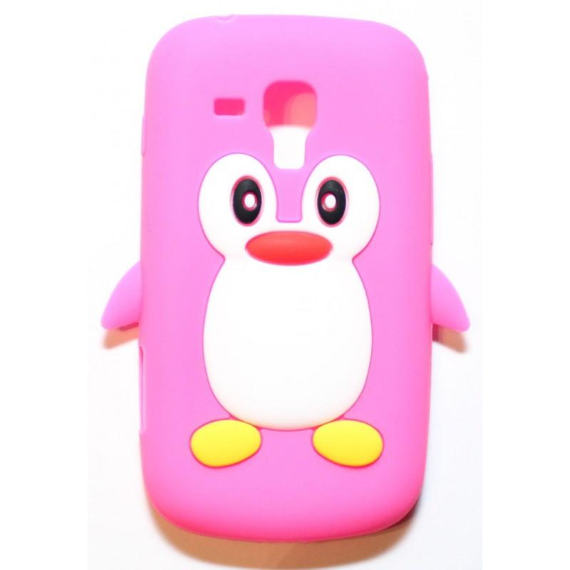 Galaxy Trend hot pink pingviini silikonisuojus.