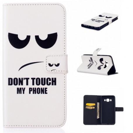 Samsung Galaxy J5 2016 valkoinen do not touch my phone puhelinlompakko