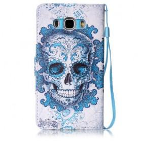 Samsung Galaxy J5 2016 sininen pääkallo puhelinlompakko