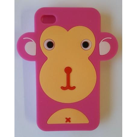 iPhone 4 pinkki apina silikonisuojus.