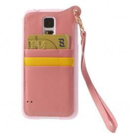 Samsung Galaxy S5 vaaleanpunainen suojakuori.