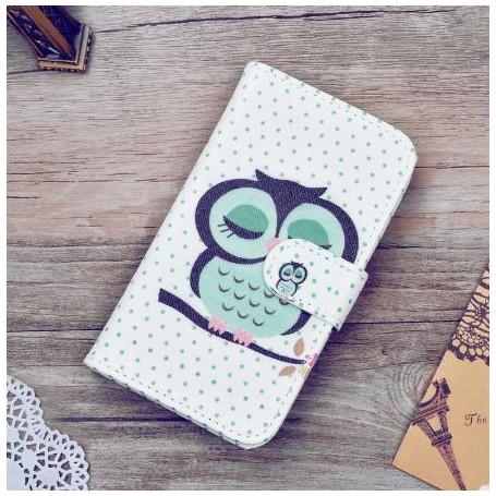 Huawei Y360 vihreä pöllö puhelinlompakko