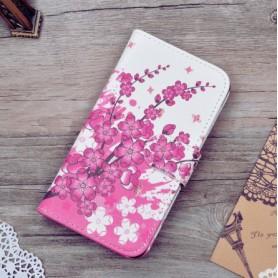 Lenovo A Plus vaaleanpunaiset kukat puhelinlompakko