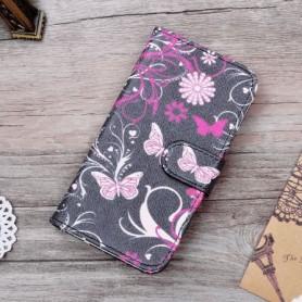 Lenovo A Plus kukkia ja perhosia puhelinlompakko