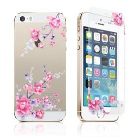 Apple iPhone SE kukkakoristeltu etu ja taka lasikalvo.