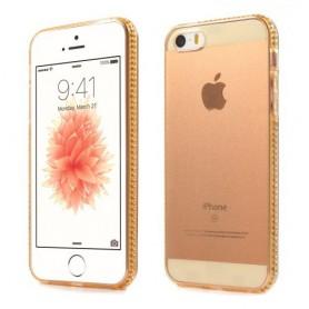 Apple iPhone SE läpikuultavat kullan väriset kuoret.
