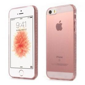 Apple iPhone SE läpikuultavat pinkit kuoret.