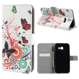 Samsung Galaxy A3 2017 värikkäät perhoset puhelinlompakko