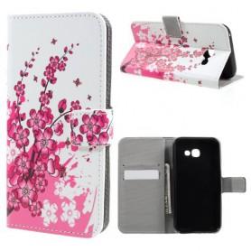 Samsung Galaxy A3 2017 vaaleanpunaiset kukat puhelinlompakko