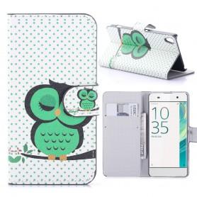 Sony Xperia XA vihreä pöllö puhelinlompakko