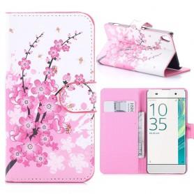 Sony Xperia XA vaaleanpunaiset kukat puhelinlompakko