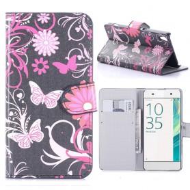 Sony Xperia XA kukkia ja perhosia puhelinlompakko