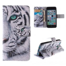 iPhone 5c valkotiikeri puhelinlompakko