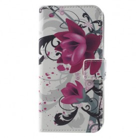 Huawei Honor 8 Lite violetit kukat puhelinlompakko