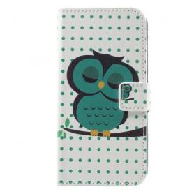 Huawei Honor 8 Lite vihreä pöllö puhelinlompakko