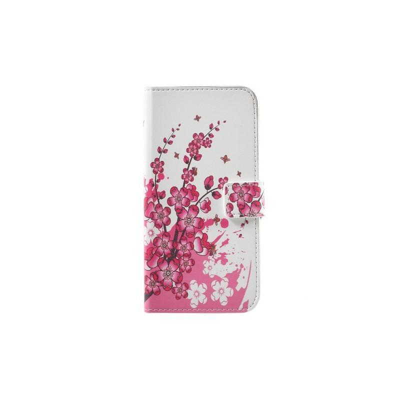 Huawei Honor 8 Lite vaaleanpunaiset kukat puhelinlompakko
