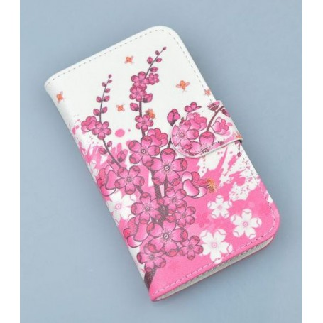 Nokia Lumia 925 vaaleanpunaiset kukat puhelinlompakko