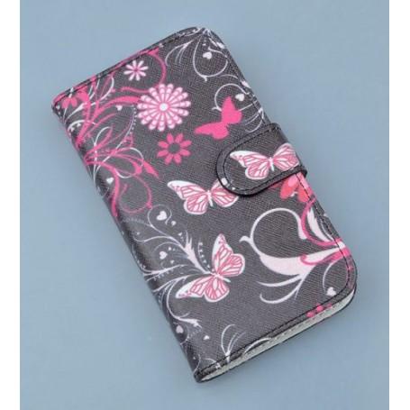 Nokia Lumia 925 kukkia ja perhosia puhelinlompakko