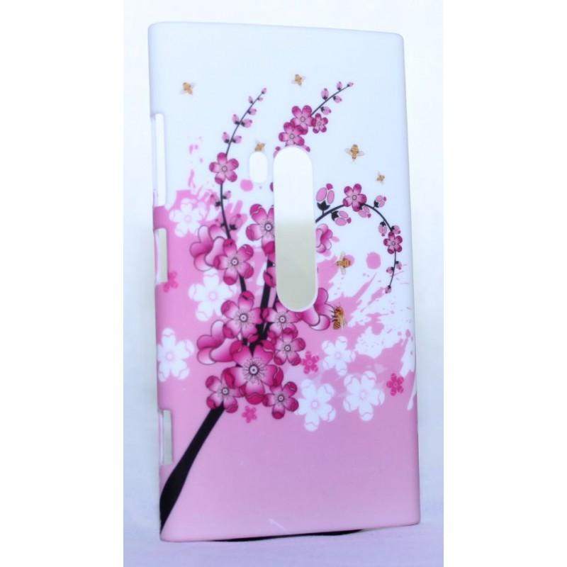 Nokia Lumia 920 kova suojakuori vaaleanpunainen kukka.