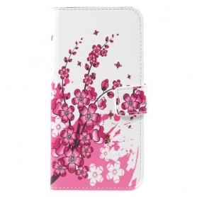 Samsung Galaxy S8 vaaleanpunaiset kukat puhelinlompakko
