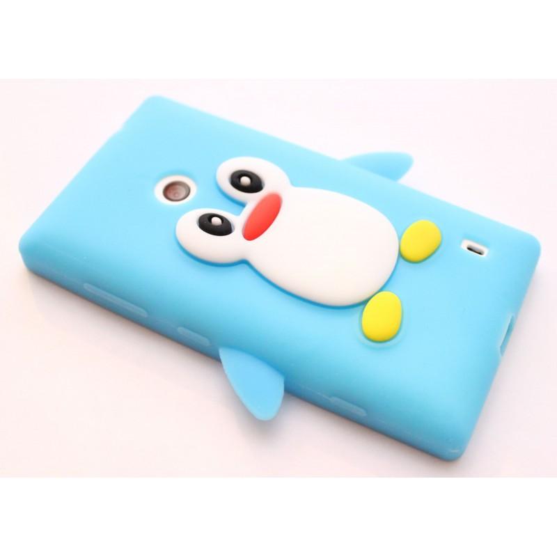Lumia 520 vaaleansininen pingviini silikonisuojus.