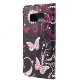 Samsung Galaxy S8 kukkia ja perhosia puhelinlompakko
