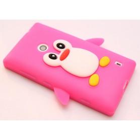 Lumia 520 hot pink pingviini silikonisuojus.