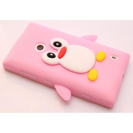 Lumia 520 vaaleanpunainen pingviini silikonisuojus.