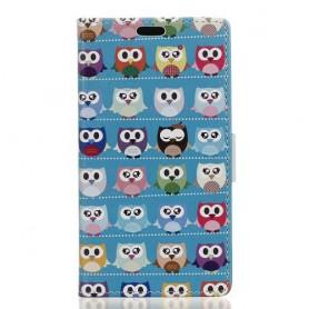 Samsung Xcover 4 värikkäät pöllöt puhelinlompakko