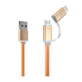 Kullan värinen Micro-USB ja Lightning kaapeli.