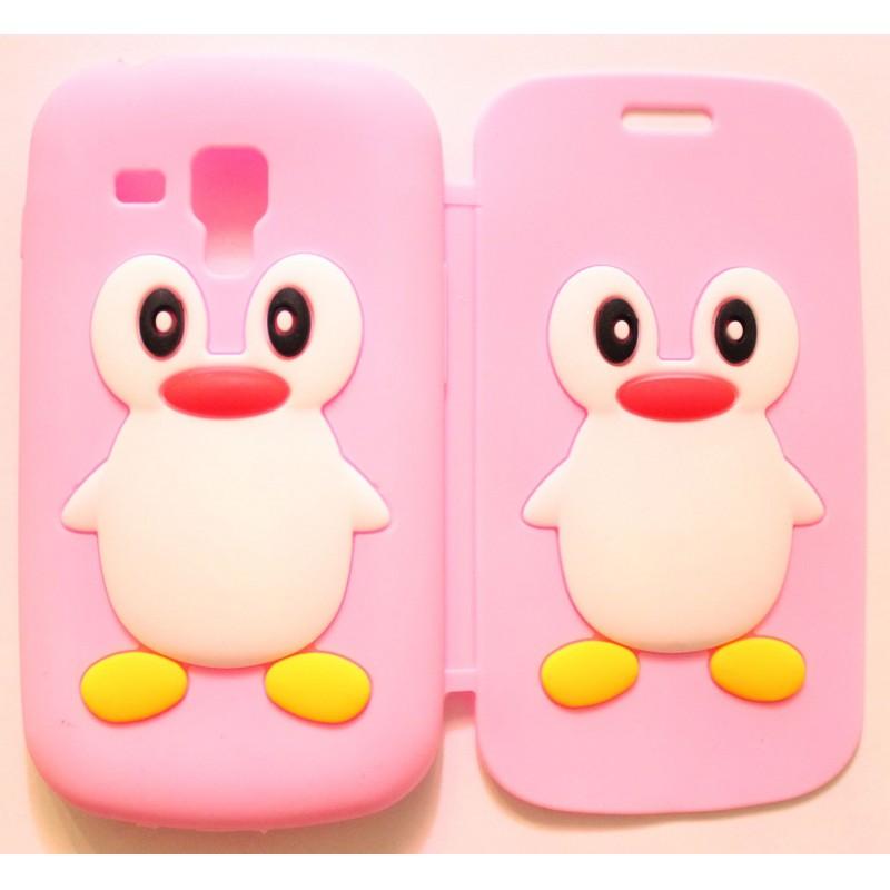 Galaxy Trend vaaleanpunainen kannellinen pingviini silikonisuojus.
