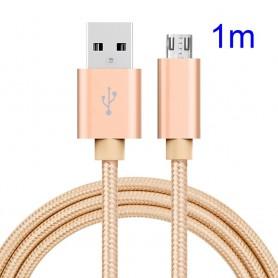 Kullan värinen punottu Micro-USB kaapeli.