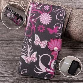 Samsung Xcover 4 kukkia ja perhosia puhelinlompakko