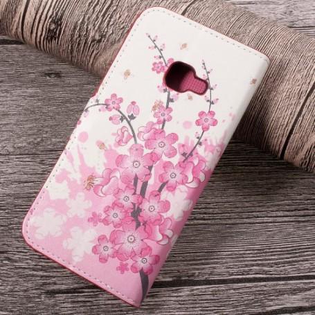 Samsung Xcover 4 vaaleanpunaiset kukat puhelinlompakko