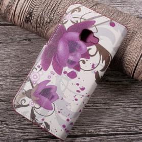 Samsung Xcover 4 violetit kukat puhelinlompakko