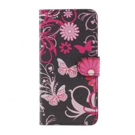 Huawei P10 Lite kukkia ja perhosia puhelinlompakko