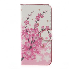 Huawei P10 Lite vaaleanpunaiset kukat puhelinlompakko