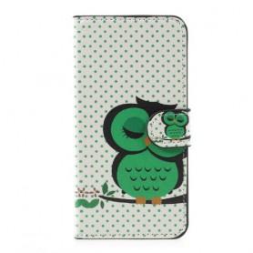 Huawei P10 Lite vihreä pöllö puhelinlompakko